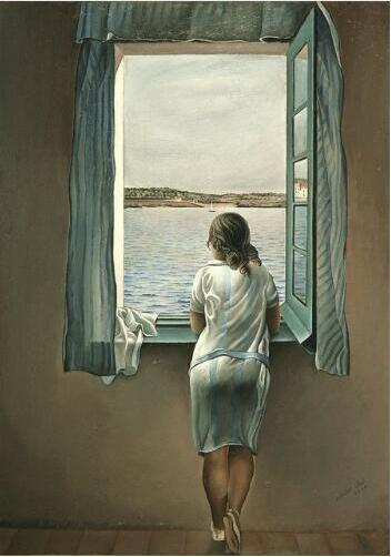Salvador Dali Woman At The Window  Silk Poster Wall Decor Room Painting 24X36Inch
