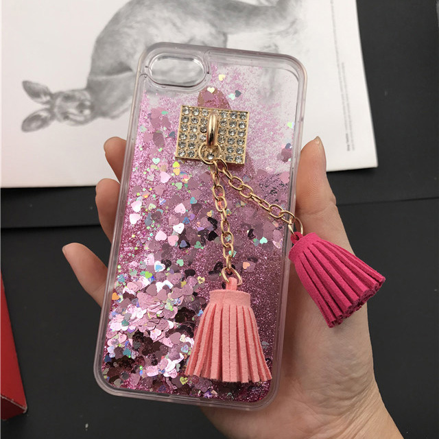Rhinestone Cases Sweet-Tempered For Iphone X Tassels Case Luxury Glitter Dynamic Sand Liquid Wine Cup Case For Iphone 8 Plus 7 6s 5s Tassels Phone Case Low Price Phone Bags & Cases