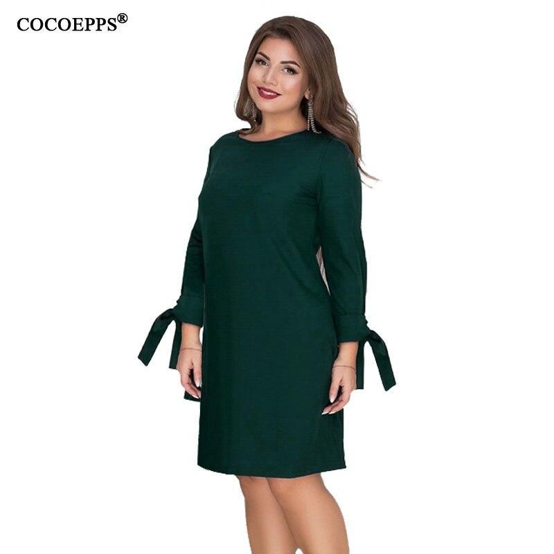 2019 winter big size Straight Dress Elegant Casual Short Dress long Sleeve Ladies Mini Office Dress 6xl plus size women dresses short dresses office wear