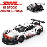 Model building brick kits compatible with lego brick 42096 911 RSR Technic Series The White Super Racing Car Set Building Blocks