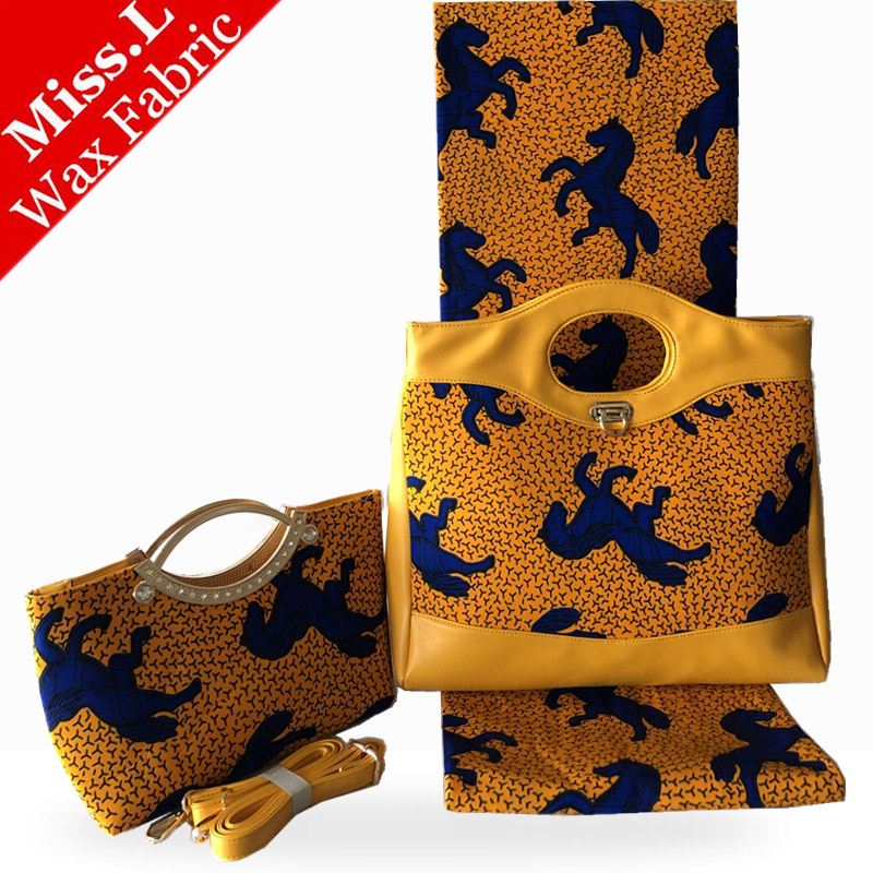 NEW African Wax Bag Sets Popular High Quality Woman s Two Clutch Bags Match 6 Yards