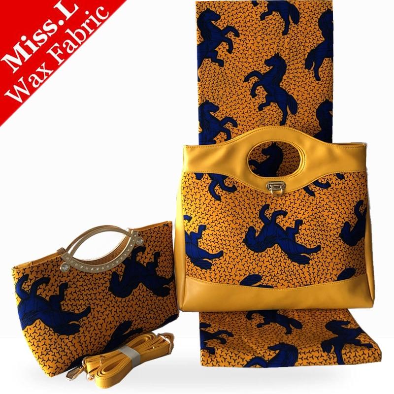 ใหม่ขี้ผึ้งแอฟริกันกระเป๋าชุดยอดนิยมคุณภาพสูงผู้หญิง 2 กระเป๋าคลัทช์ Match 6 หลา Soft Wax อังการาแอฟริกันพิมพ์ผ้าฝ้าย-ใน ผ้า จาก บ้านและสวน บน   1