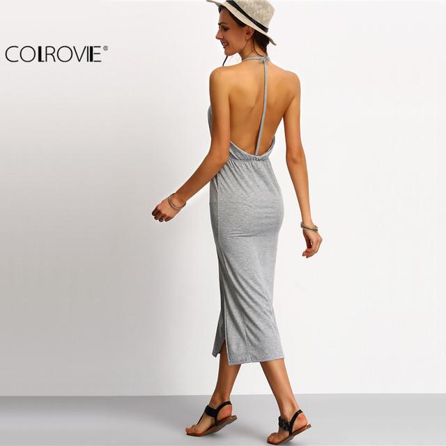 COLROVIE Halter Sleeveless Backless Side Split Sheath Long Beach Ladies Cotton Dresses 2016 Summer Dress