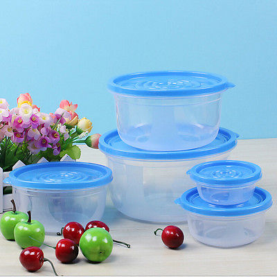5pcs Set Meal Prep Food Containers With Lids Reusable Microwavable Plastic Container Round Square Storage Bo Bins In From