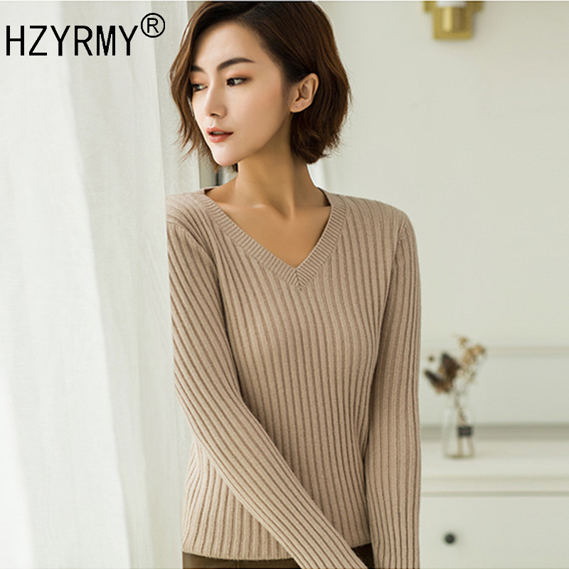 HZYRMY Spring and Autumn New Women' Cashmere Sweaters Fashion V-Neck Slim Pure color Pullover Blouse Wool Knitted Short Sweaters