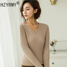 HZYRMY Spring and Autumn New Women Cashmere Sweaters Fashion V-Neck Slim Pure color Pullover Blouse Wool Knitted Short