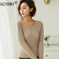 HZYRMY Spring and Autumn New Women' Cashmere Sweaters Fashion V Neck Slim Pure color Pullover Blouse Wool Knitted Short Sweaters