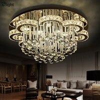 Luxury Modern Lustre K9 Crystal Led Ceiling Chandelier Flower Chrome Steel Dimmable Chandelier Lighting Luminarie Light Fixtures