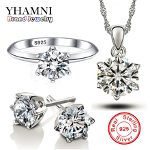 YHAMNI Luxury Solid 925 Silver Jewelry Sets Top Sona 6mm 1 Carat CZ Zircon Pendant Necklace Earrings Ring Jewelry Sets TZ1263