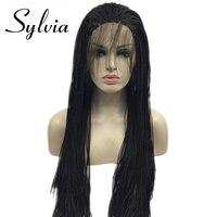 Sylvia синтетические кружева спереди парик 1b черный Micro Детские Волосы Заплетены для женщин жаропрочных волокна поле косу парик Glueless