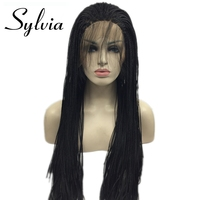 Sylvia Synthetic lace front wig 1B black micro baby hair braid with for women heat resistant fiber box braid wig glueless
