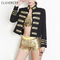 Jackets Women Long Sleeve Fashion Women Short Jacket Outerwer Slim Embroidery Double Breasted Military Streetwear Coat Tops
