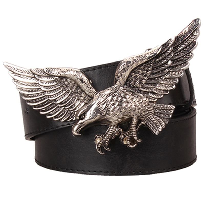 Cool big head belt big fly eagle buckle metal eagle belt fashion men's leather belt punk rock style belt