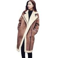 New Women Suede Leather Coats Long Side Zipper Parka Female Winter Jackets Ladies Faux Sheepskin Windbreakers Overcoat ABC004