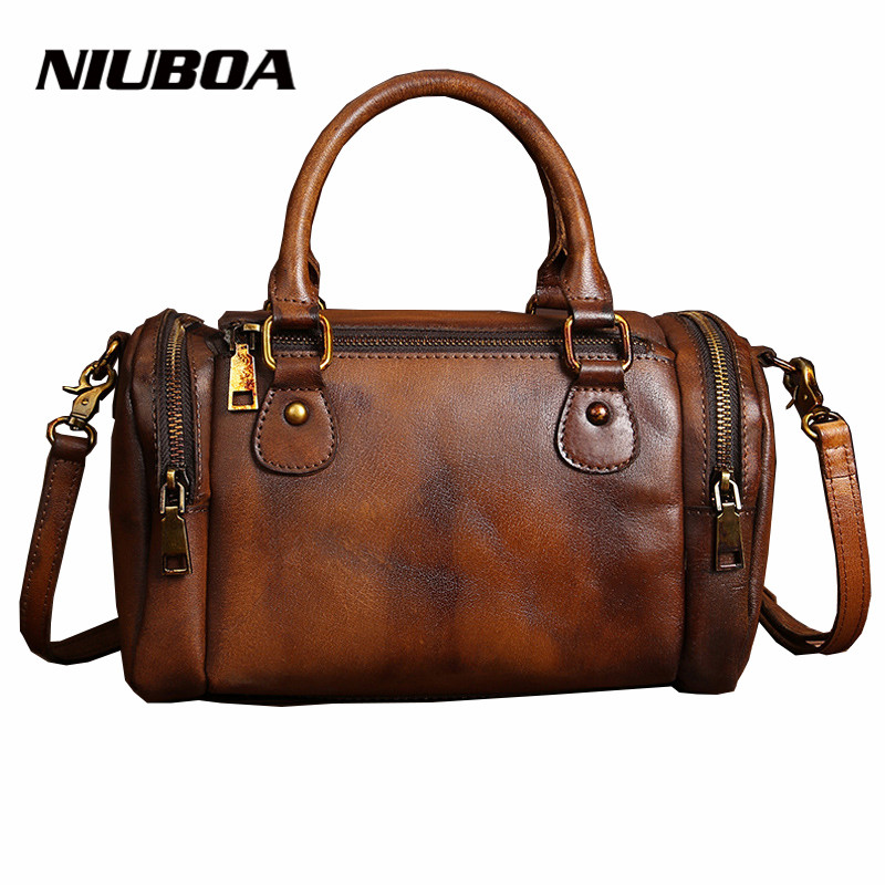 NIUBOA Original Genuine Leather Women Shoulder Bags Vintage New Leisure Trend Cowhide Ladies Crossbody Bag Women