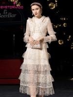 2019 женщин кружевное платье каскадные Ruffled формальное свадебное платье винтаж макси платье