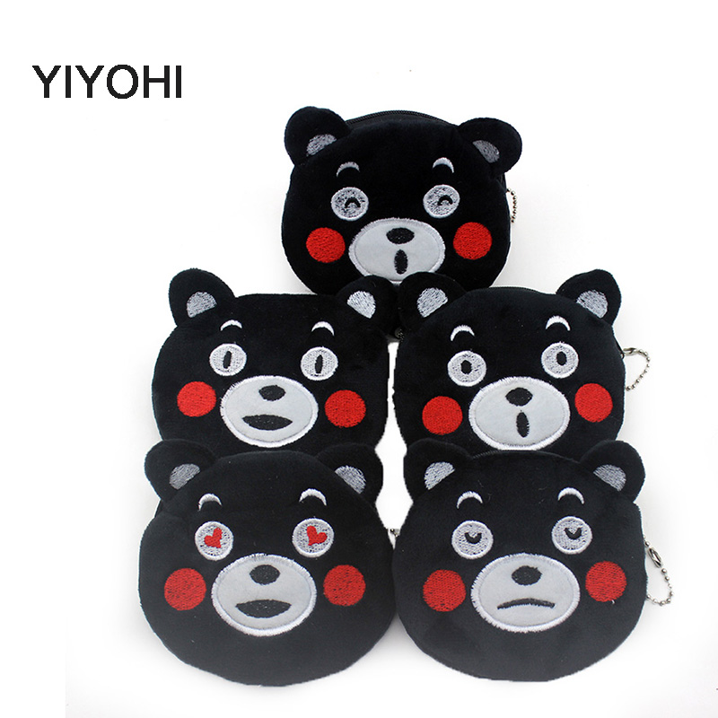 YIYOHI Hot Sale Kawaii Black Bear Cartoon Kumamon Children Plush Coin Purse Zip Change Purse Wallet Kids Girl Women For Gift