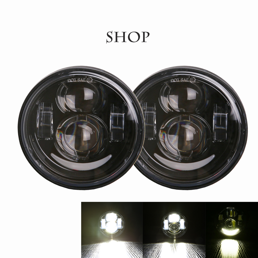 1 PAIR For fat bob motorcycle DRL headlights 4.65 LED H4 double headlights lamps 5inch LED Projector with DRL for harley moto