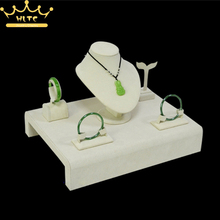 Jewelry Display Packaging Show Case Beige Velvet Display Jewelry Holder for Necklace Bust Bracelets Stand Earring Rack
