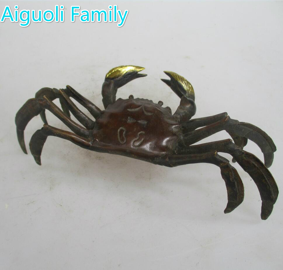 Collection Chinese Old Copper Carved Crab Sculpture/Art Antique Home Decoration Animal  StatueCollection Chinese Old Copper Carved Crab Sculpture/Art Antique Home Decoration Animal  Statue