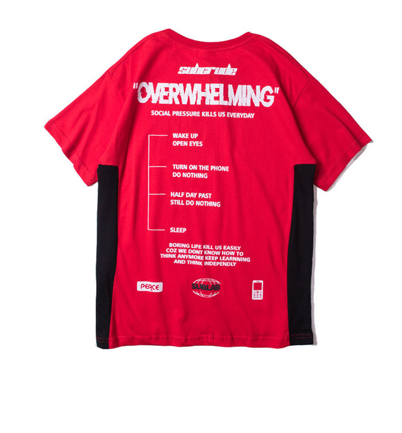 Funny Aesthetic Overwhelming Print Cotton T Shirt for Men Urban Boys Street Wear Hiphop Graphic Short Sleeve Tee Oversized S-XXL 19