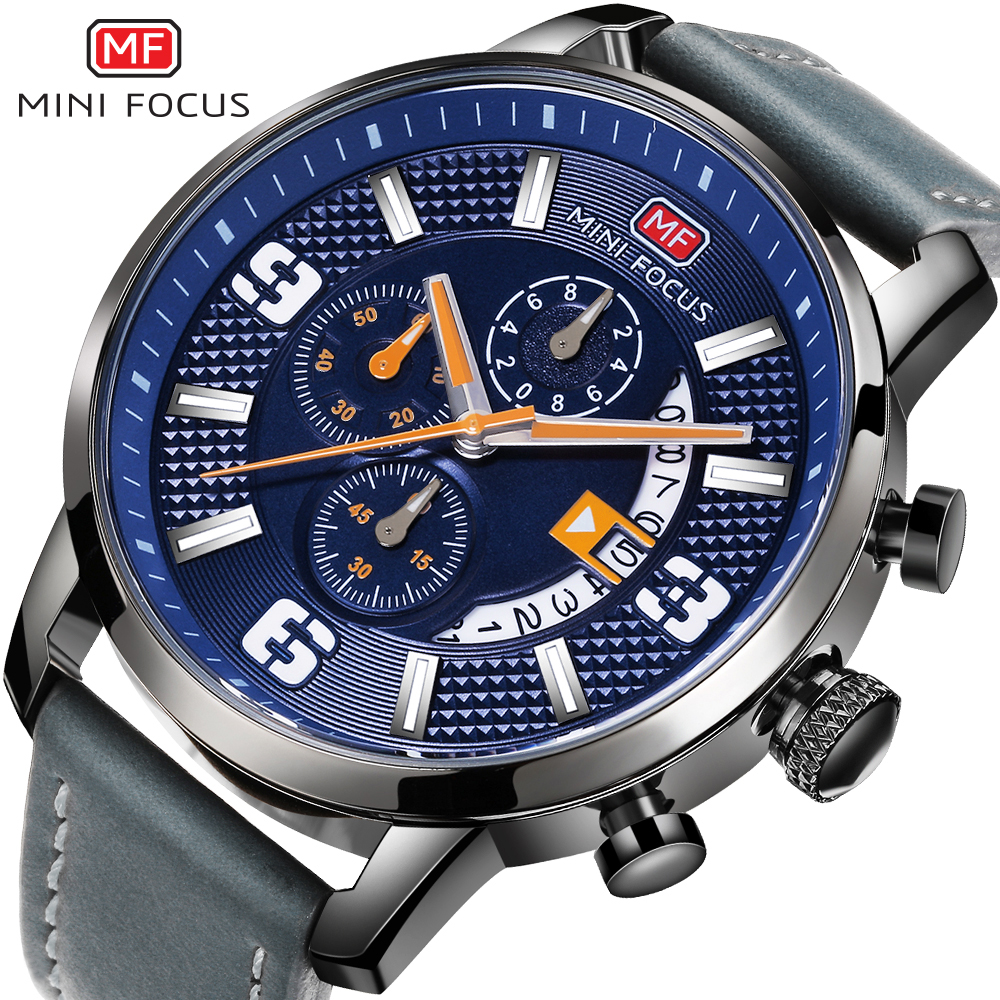 MINI FOCUS Brand Luxury Chronograph Men Quartz Sports Watches Men Leather Army Military Wrist Watch Male Blue Analog Date Clock super speed v0169 fashionable silicone band men s quartz analog wrist watch blue 1 x lr626