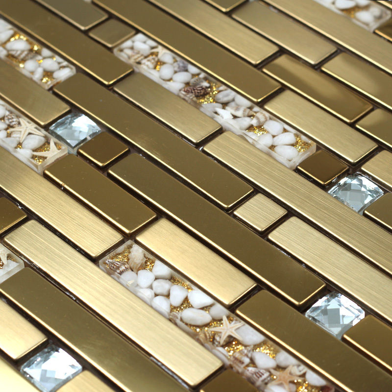 Strip Golden Metal Mixed Sea Shell Resin Glass Mixed Diamond Mosaic
