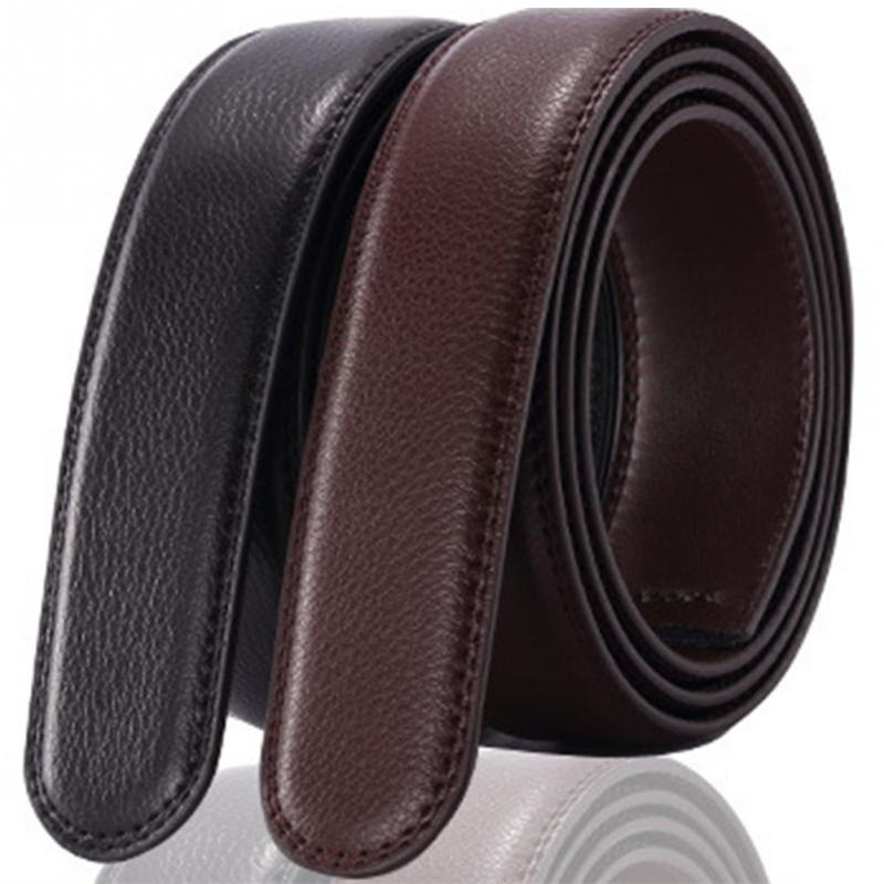 Men Leather Belt No Buckle 3.5cm Wide Leather Belt Durable Without Automatic Buckle Strap Wear-resistant Smooth Men Belt #20