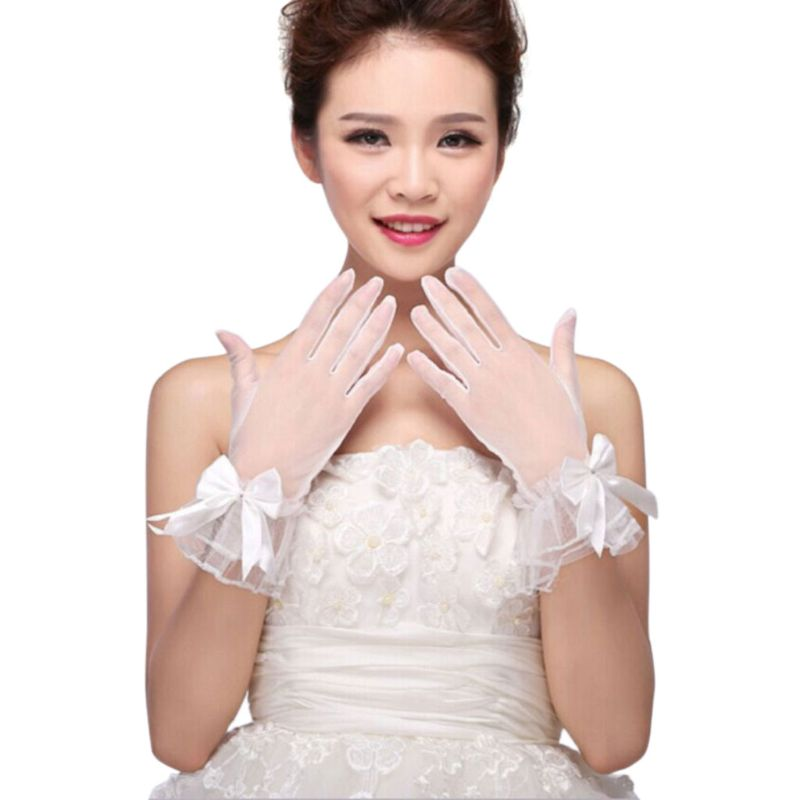 Women White Wedding Bridal Short Gloves Full Finger See Through Ribbon Bowknot Decor Wrist Length Costume Prom Party Solid Color