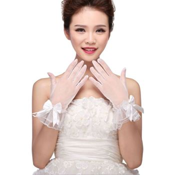 Women White Wedding Bridal Short Gloves Full Finger See Through Ribbon Bowknot Decor Wrist Length Costume Prom Party Solid Color Bridal Gloves