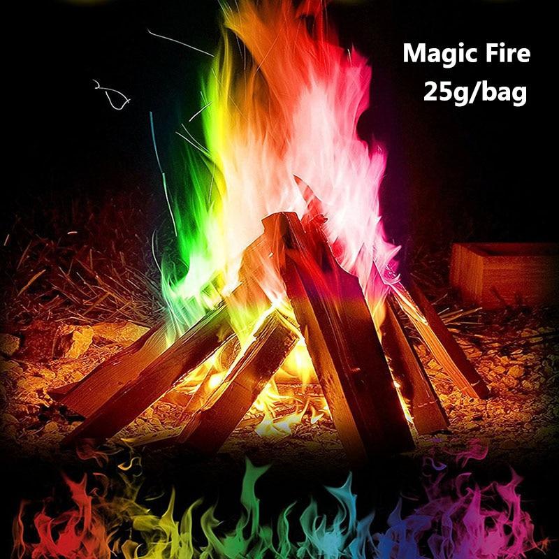 25g/Bag Mystical Fire Magic Tricks Coloured Flames Bonfire Sachets Fireplace Pit Patio Toy Professional Magicians Pyrotechnics