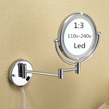hot bathroom chrome wall mounted 8 inch brass 3x1x magnifying mirror led light folding