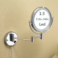 Hot Bathroom Chrome Wall Mounted 8 Inch Brass 3X 1X Magnifying Mirror LED Light Folding Makeup