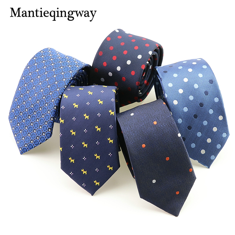 Mantieqingway Neck Tie Casual Polyester Skinny Ties Wedding Party Plaid Polka Dots Business Men Ties Navy Blue Ties For Mens