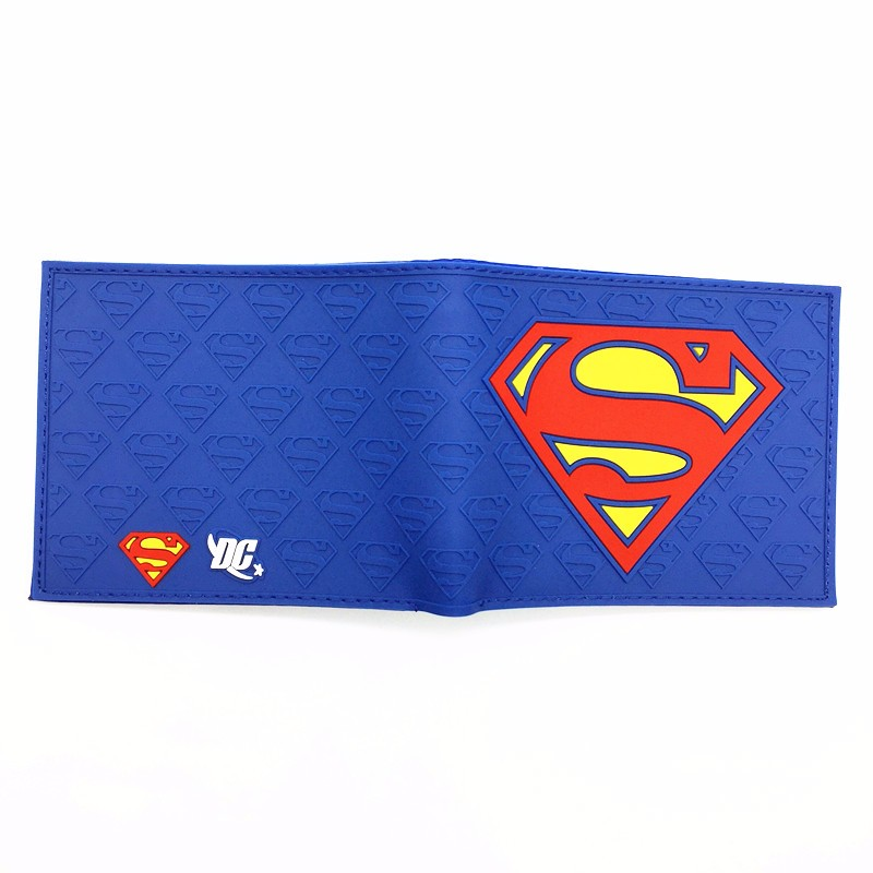 Free Shipping Anime Comics The Superman Wallet Anime Cartoon Purse for Young Card Holder Wallets With Tag Dollar Price anime wallets new designer jeans wallet batman superman denim wallets young boy girls purse small money bag