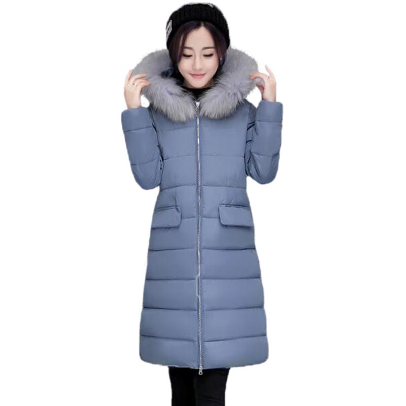 2017 New Wadded Winter Jacket Women Thick Warm Fur Collar Cotton Coat Long Slim Hooded Outwear Parkas PW0385 zoe saldana 2017 winter wadded jacket women thick warm faux fur hooded long cotton padded jacket slim parkas winter coat