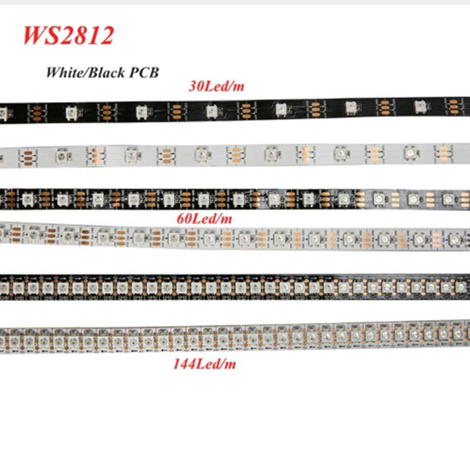 DC5V 1m 5m waterproof ip67/IP20 ip65 SMD5050 RGB 30 60 144 led/m ws2811 ws2812 ws2812b led strip black/white PCB