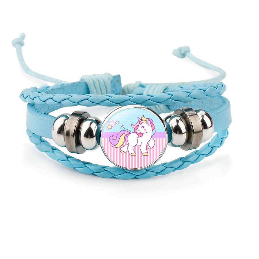 2018 brazaletes para hombre con caricaturas bonitas de unicornio, brazaletes para mujer, regalo hecho a mano de piel de vaca para niños