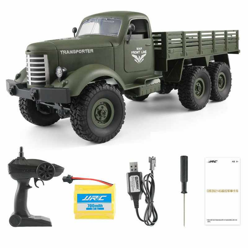 Q60 RC Cars 6WD Off-Road Auto Militaire Truck Geneigd Vliegtuig Differentieel Schokdempers Snelheid Conversie Heldere Schijnwerpers