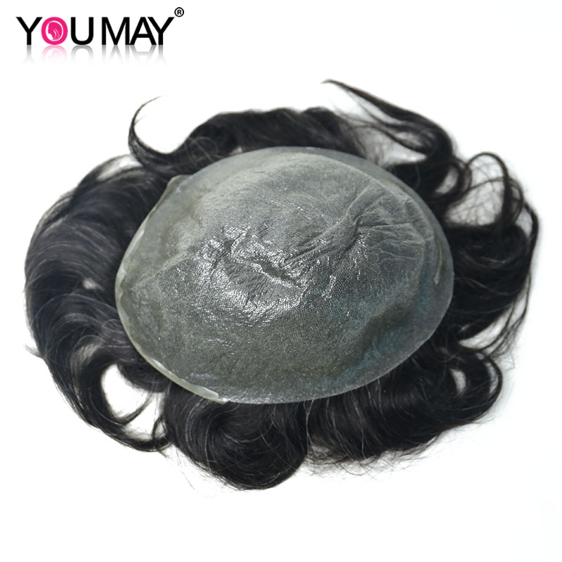 Ultra Thin PU Mens Toupee Skin Invisible Hairpieces Replacement V-loop PU System Remy Human Hair Wigs For Men 8X10 #1B10 You May
