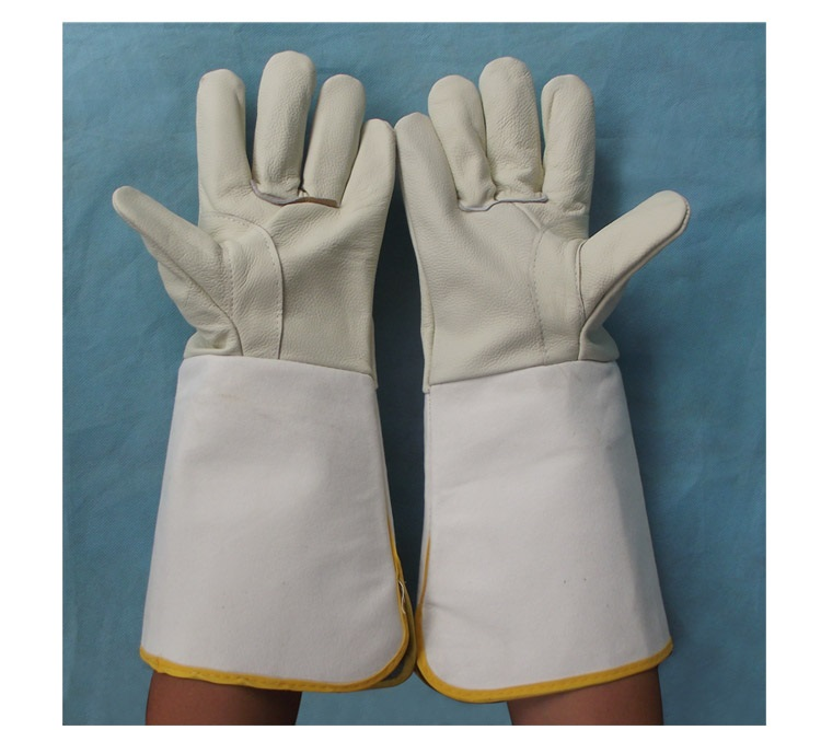 High quality long style welding gloves safety protective wear-resisting High temperature resistant canvas working gloves high quality hand tool gloves 12 pairs 700g cotton gloves wear resistant work thick gloves against high low temperature gloves