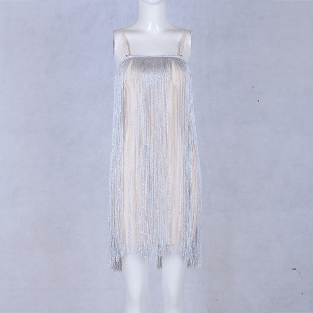New Fashion Evening Party Dress Women Sexy Spaghetti Strap Gold Tassel Clubwear Bodycon Dresses Vetidos Fringe Dress