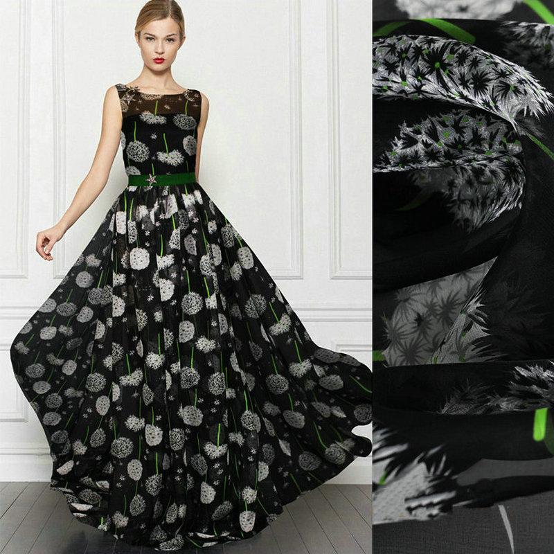 silk fabric dandelion printed Silk chiffon fabric nature silk fabric