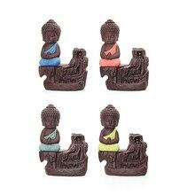 Фиолетовая глина маленький монах горелка для благовоний с обратным потоком ладан вафельный рожок держатель домашний декор курильницы 11,5*7,3 см