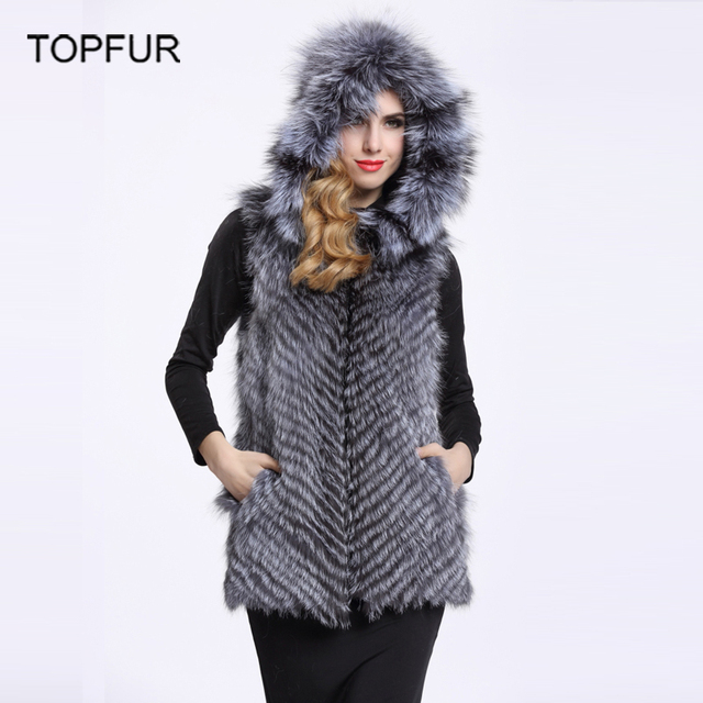 TOPFUR Silver Fox Fur Vest Genuine Real Waistcoat Women Winter Jackets With Fur Hood Natural Fox Fur Coats Jacket V9