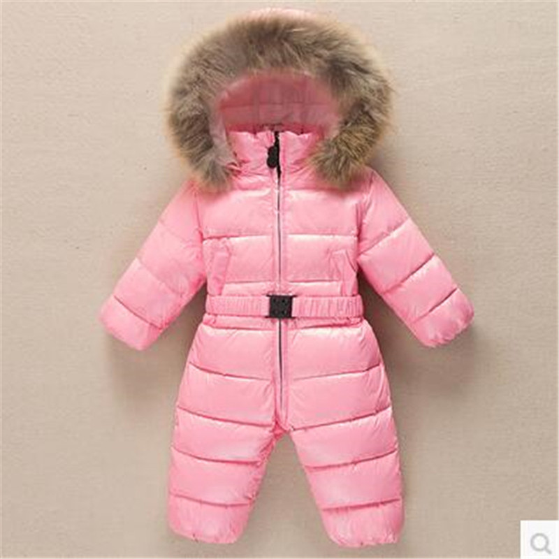 Real Fur Baby Down Jacket Baby Clothes Boys And Girls Down Climbing Clothes Thickening Warm Overalls For Kids 9M-3T new 2017 winter baby thickening collar warm jacket children s down jacket boys and girls short thick jacket for cold 30 degree