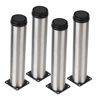 Silver 50 X 250mm Cabinet Metal Legs Adjustable Stainless Steel Kitchen Table Desk Feet Pack Of