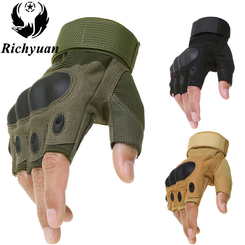 Tactical Hard Knuckle Fingerless Gloves Military Army Bicycle Shooting Paintball Airsoft Motorcross Carbon Half Finger Gloves