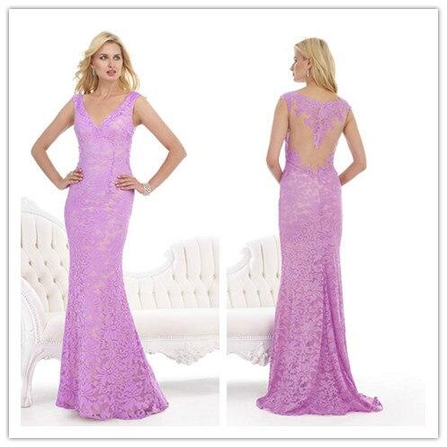 Elegant Lavender Lace Evening Dresses Mermaid Gown V Neck Sheer Back ...
