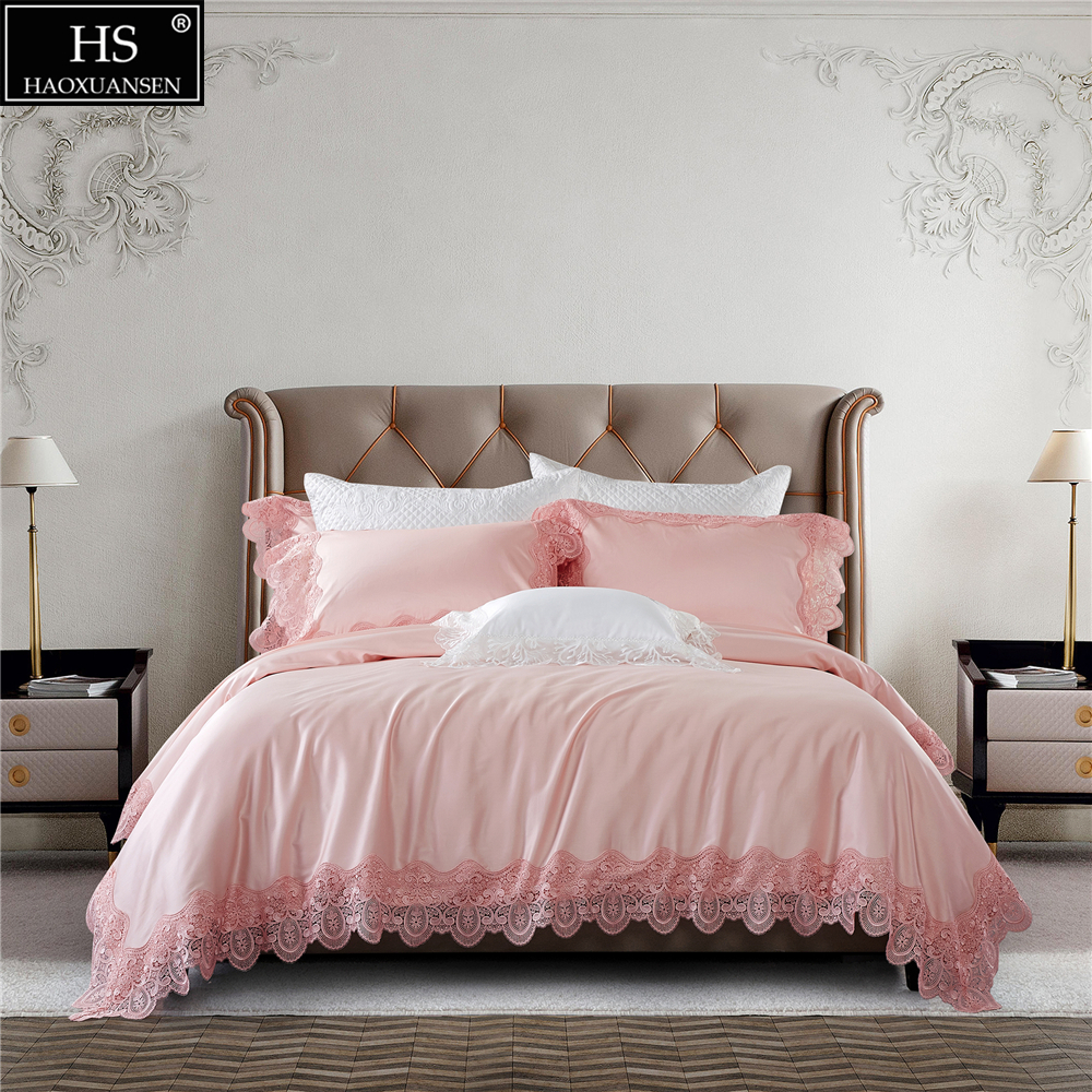 100S Egyptian Cotton Pink Luxury Royal Lace Romantic Girls Bedding Set 4Pcs King Queen Bed Sheet Set Duvet cover Pillow shams 100S Egyptian Cotton Pink Luxury Royal Lace Romantic Girls Bedding Set 4Pcs King Queen Bed Sheet Set Duvet cover Pillow shams